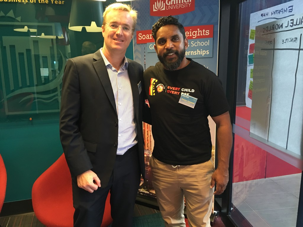 Queensland Airports Limited CEO Chris Mills with NRL Great and Indigenous entrepreneur Preston Campbell